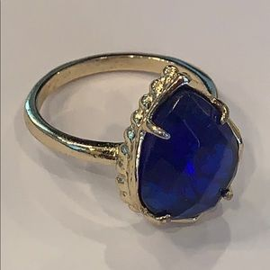 Kendra Scott cobalt blue gold statement ring